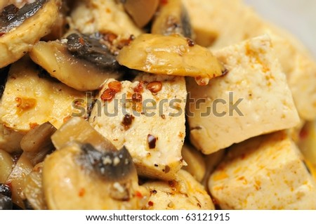 Closeup shot of authentic Chinese bean curd cuisine. Suitable for food and beverage, healthy lifestyle, and diet and nutrition.