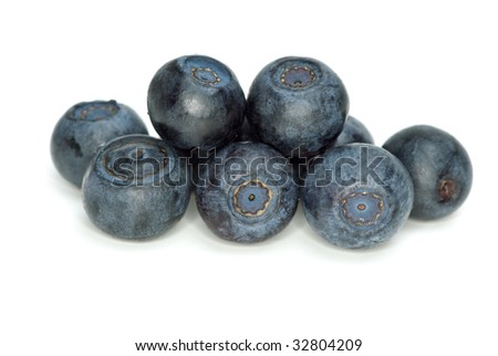 Closeup shot of blueberries isolated on the white background