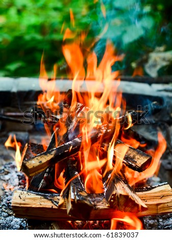 Closeup shot of camping fire - stock photo