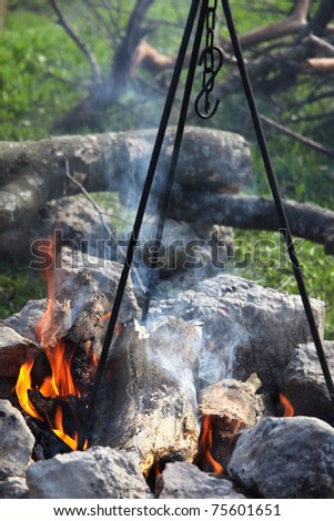 Closeup shot of camping fire in spring. Cooking  on tripod
