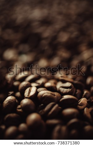 Closeup shot of coffee beans with select focus and blur background #738371380