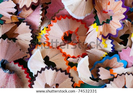 closeup shot of colored pencil shavings - background