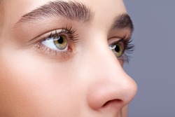 Closeup shot of female face makeup