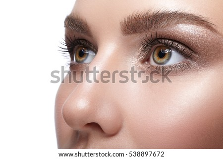 Closeup shot of female face with eye  day makeup