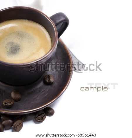 Closeup shot of freshly prepared cup of italian espresso with sample text