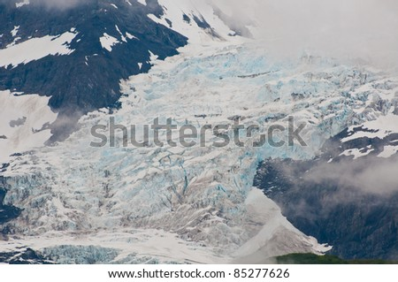 Closeup shot of huge glaciers in mountain valleys showing texture and detail.