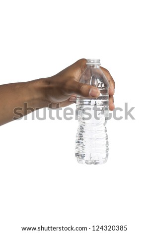 Closeup shot of human hand holding a bottle of water over a white background