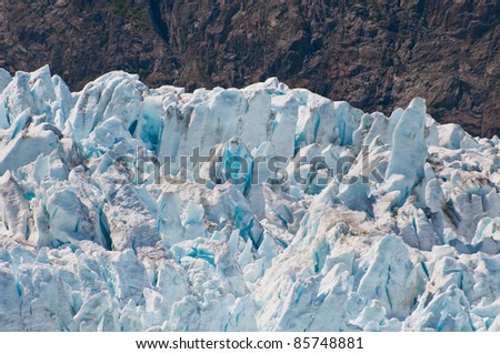 Closeup shot of interesting glacier details.