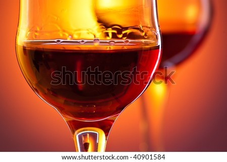 closeup shot of red drink in glass