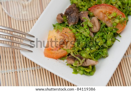 Closeup shot of special Asian vegetable delicacy.