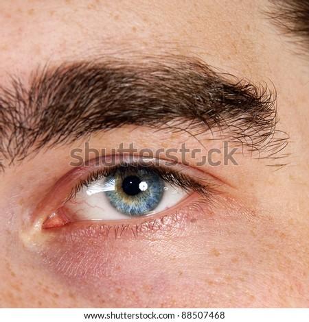 Closeup shot of the man's eyes.