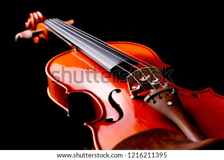Closeup shot of violin orchestra musical instruments. #1216211395