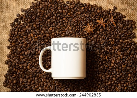 Closeup shot of white mug against of coffee background with star anise