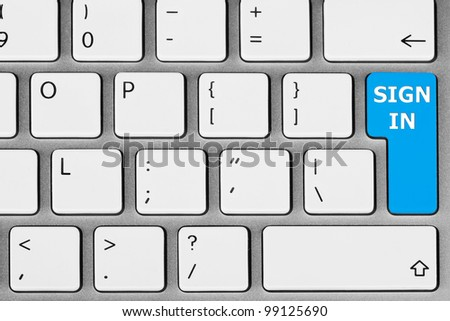 Closeup sign in and login on internet webpage concept with keyboard key