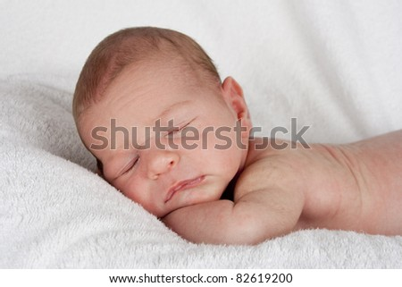 closeup sleeping newborn baby