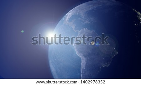 Closeup South America View from Space. Day Night Background. Image shows Equator, Pacific and Atlantic Oceans and the Countries In The Southern Hemisphere. Brazil perspective with city lights. 3d HD