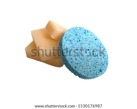 Closeup Sponge and soaps for cleaning or scrub skin.