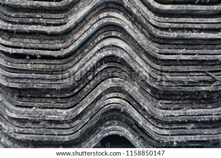 closeup Stack of ceramic tile in zigzag pattern have moss feel old ,Stack of ceramic tile in zigzag pattern background #1158850147