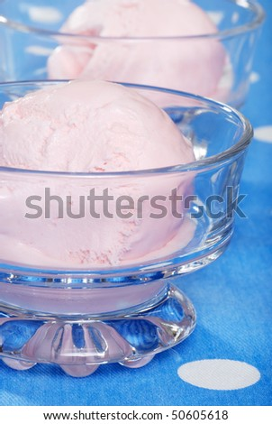 closeup strawberry ice cream