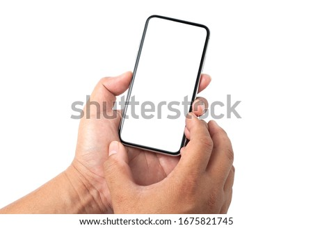 Closeup studio shot  hand holding mobile blank touch screen. isolated on white background. Business man hand holding a modern smartphone.