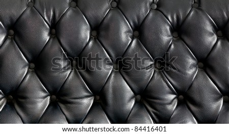 Closeup texture of vintage black leather sofa for background