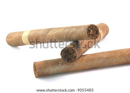 closeup three large cuban cigars isolated on white background luxury and abuse concepts