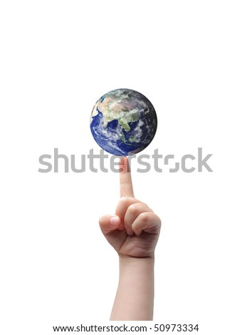 Closeup to a child's hand holding the earth on his finger