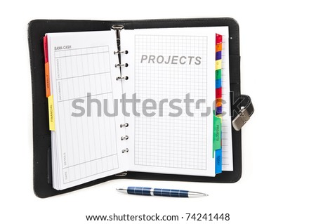 Closeup to agenda on projects page - stock photo