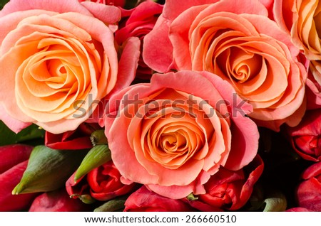 closeup to tea roses in bunch