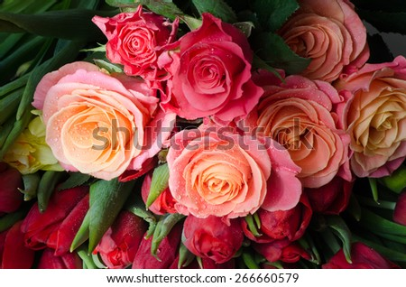 Stock Photo closeup to tea roses in bunch