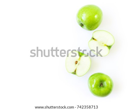 Closeup top view green apple on white background with space for product or text advertising, fruit healthy concept
