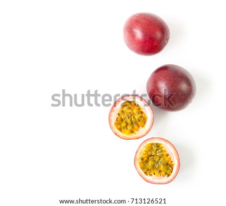 Closeup top view passion fruit on white background, fruit for healthy concept