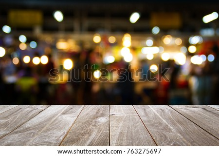 closeup top wood table with Blur Background, for your photo montage or product display, Space for placing items on the table. #763275697