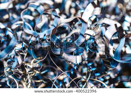 Closeup twisted spiral steel shavings