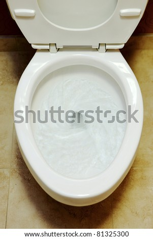Closeup view of a flushing white toilet