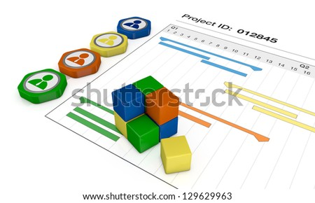 closeup view of a gantt chart with icons (3d render)