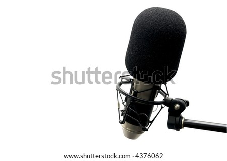closeup view of a microphone isolated on a white background and including a clipping path