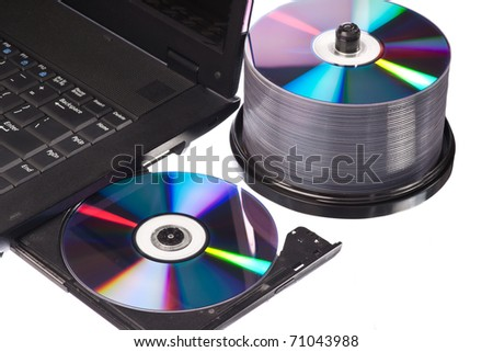 Closeup view of a modern high-end laptop computer with its CD/DVD optical drive open