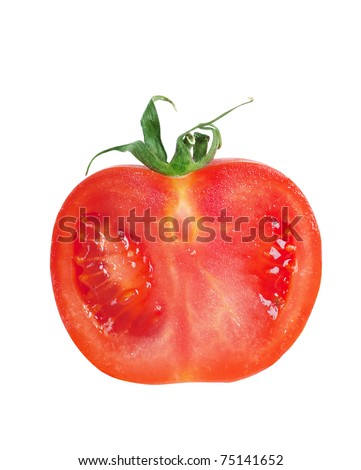 Closeup view of a slice of tomato isolated on the white
