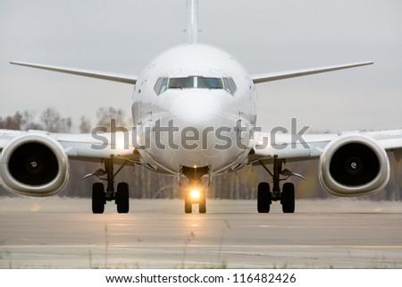 Closeup view of an aircraft preparing to take off