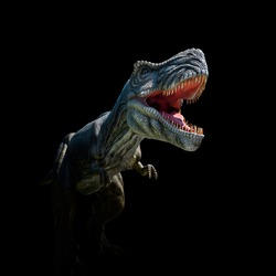 Closeup view of an angry T-Rex dinosaur figurine on black background. Monstrous animal with open mouth and sharp teeth