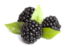 Closeup view of blackberries on a white background