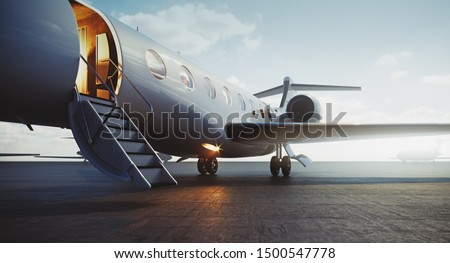 Closeup view of business jet airplane parked at outside and waiting vip persons. Luxury tourism and business travel transportation concept. 3d rendering Foto d'archivio ©