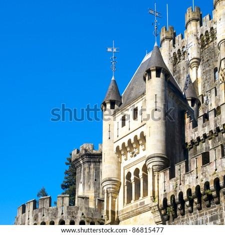 Closeup view of castle of Butron. Basque country, Spain