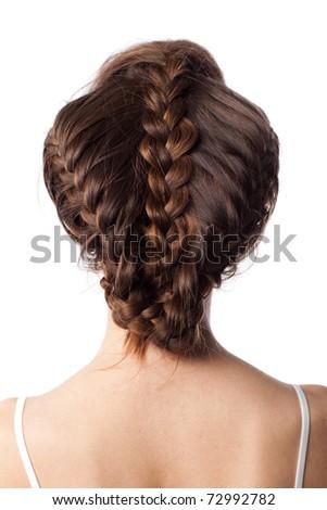 closeup view of caucasian female stylish hairstyle