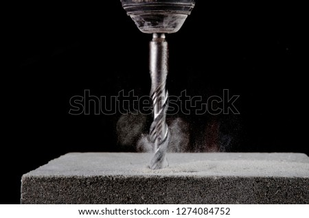 Closeup view of concrete drill bit