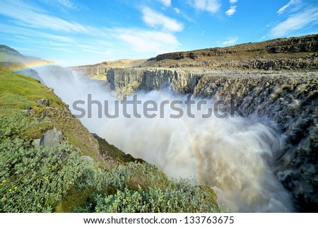 Closeup view of Detifoss waterfall on Jokulsa a Fjollum river in Jokulsargljufur National Park. Iceland. Panorama