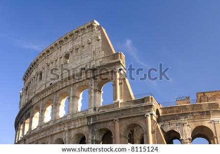 Closeup view of exterior of the Colosseum in Rome, Italy.