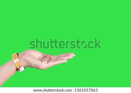 Closeup view of female hand wearing brown entrance wristband of hotel resort or entertainment park. Hand in gesture with empty palm isolated on green chromakey background. Horizontal photography.