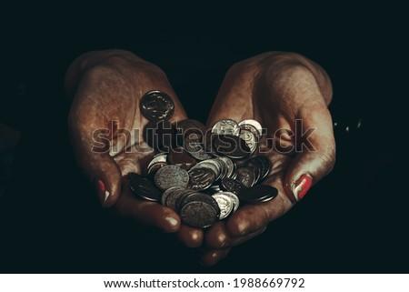 closeup view of human hands and moneys Foto d'archivio ©